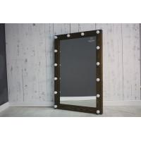 Гримерное зеркало с подсветкой лампочками 120х80 черное дерево